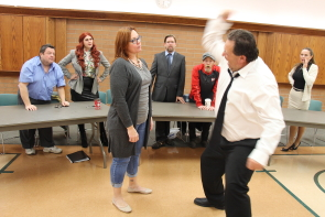Vittorio Oliverio re-enacts the crime with Shelly David during 12 Angry Jurors rehearsals. Photo by Richard Amery
