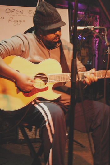 Salem Abraha playing a benefit for Murray Nelson. Photo by Richard Amery