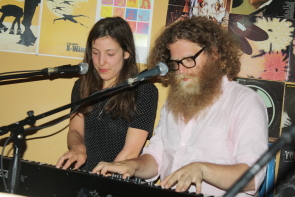 Ben Caplan and Taryn Kawaja play piano together. Photo by Richard Amery