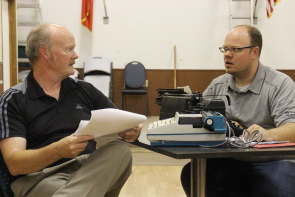 Stephen Graham and Preston Scholz rehearse Deathtrap. Photo by Richard Amery