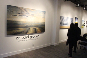 Some of the art as part of The on Solid Ground exhibit at Mortar and brick, which opened, Sept. 27. photo by Richard Amery