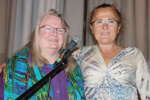 Cat Charissage and Teri Petz  have enjoyed hosting the Owl Poetry Open mic for the past year. Photo by Richard Amery