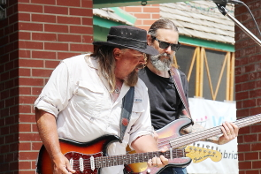 Paul Kype and Tyson Maiko of Texas Flood opening the Lethbrdge Jazz and blues Festival in Galt Gardens, Saturday, June 9. Photo by Richard amery