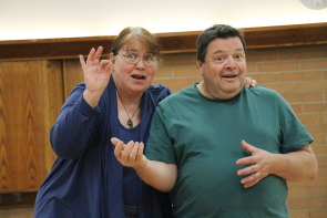 Vicki Gibson and Clive Abbott are ready for A Comedy of Tenors, may 24-26 at the Eagles Hall. Photo by Richard Amery
